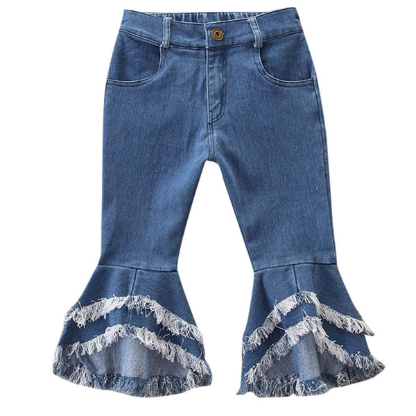 Girls Flare Denim Tassel Jeans