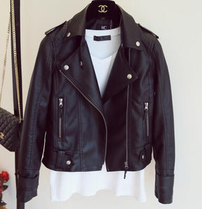 Female 2018 New Design Spring Autumn PU Leather Jacket Faux Soft Leather Coat Slim Black Rivet Zipper Motorcycle Pink Jackets - kats closet1