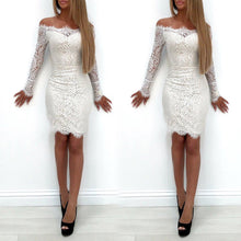 Load image into Gallery viewer, HOT Fashion Women Dress Long Sleeve Bodycon Party Lace Mini Dress Sexy Ladies White Off Shoulder Pencil Sundress - kats closet1
