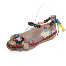 Load image into Gallery viewer, Plus Size Casual Flat Shoes Womens Handmade Beaded Ankle Straps Loafers Retro Ethnic Embroidery Ethnic Style Shoes O916 - kats closet1