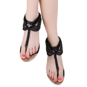 HEE GRAND Bling Beading Sandals T-Strap With Pearls - kats closet1