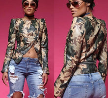 Load image into Gallery viewer, Long Sleeve Camouflage Zip Cut Open Slim Jacket