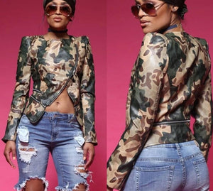Long Sleeve Camouflage Zip Cut Open Slim Jacket