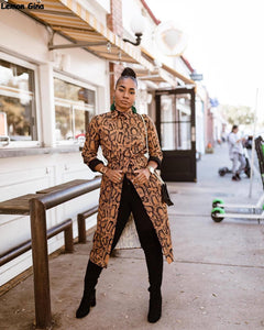 Long Sleeve Leopard Print Button Open X-Long Trench Coat
