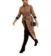Load image into Gallery viewer, Long Sleeve Leopard Print Button Open X-Long Trench Coat