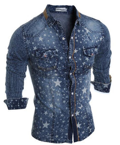 Hot Sell Men Shirt Luxury Brand 2018 Male Long Sleeve Shirts Casual Mens Denim printing Slim Fit Dress Shirts Mens Hawaiian 2XL - kats closet1