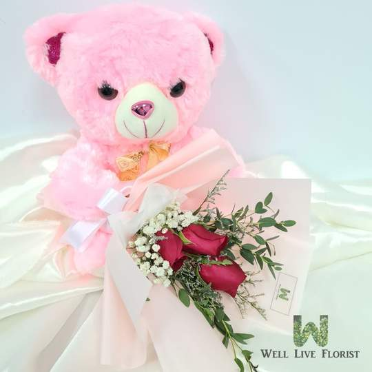Plush Toy & Flowers