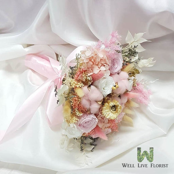 Hand Bouquet of Preserved Flower and Foliage