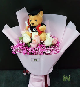 Roses, Baby's Breath and Graduation Bear