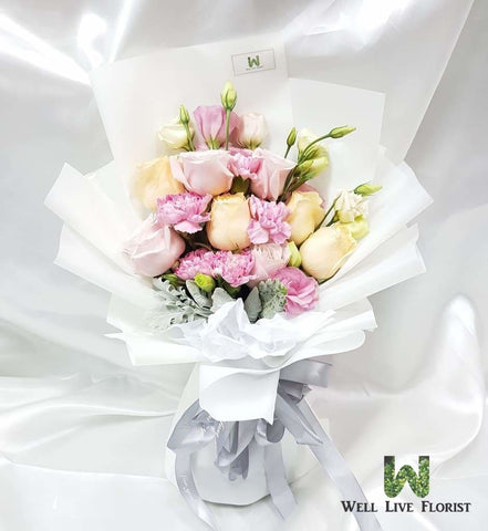 Roses, Eustoma and Carnation Hand Bouquet