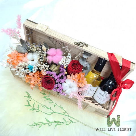 Box Arrangements of Preserved Roses, Cotton , Hydrangea, Filler Flower and Foliage