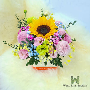 Flower Box Comprising of Sunflower , Eustoma , Baby's Breath and Pom Pom Flower