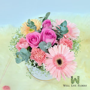 Flower Box of Fresh Cut  Roses , Carnation , Gerbera , Baby's Breath and Foliage