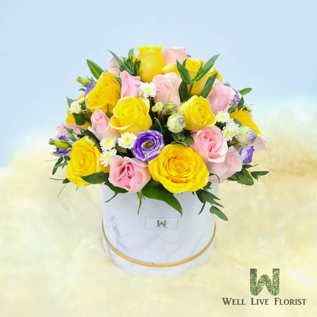 Flower Box of Fresh Cut Roses, Eustoma, Pom Pom, Filler Flower and Foliage