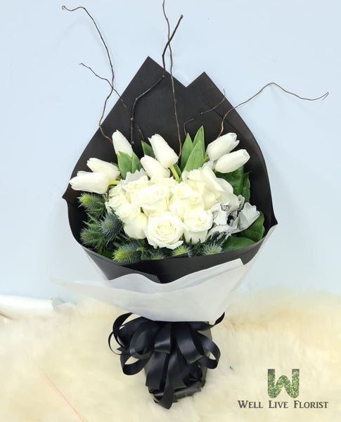 Hand Bouquet Of Fresh Cut Roses, Calla Lilies , Tulips and Foliage