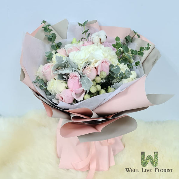 Bouquet of Hydrangea & Eustoma and Roses