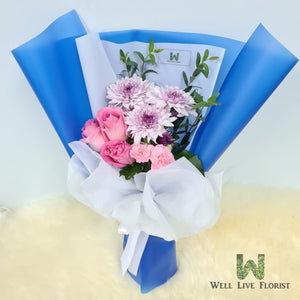 Roses , Carnation Spray , Pom Pom and Foliage Hand Bouquet