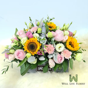 Flower Box Comprising of Roses , Sunflower , Carnation , Eustoma and Foliage