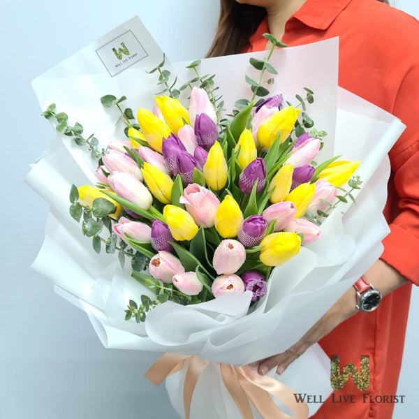 Fresh Cut Multi Color Tulips Hand Bouquet