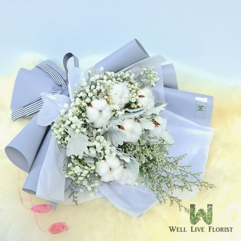Hand Bouquet of Cotton Flower, Baby's Breath and Foliage