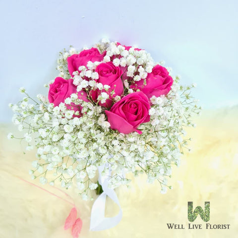 Roses and Baby's Breath Hand Bouquet