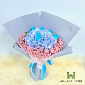 05 Blue Roses , Hydrangea and Baby's Breath Hand Bouquet