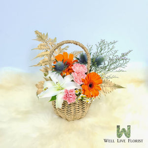 Carnation, Lily , Gerbera, Daisy Flower and Foliage Arrangement