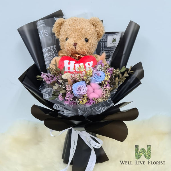 Hand Bouquet of Preserved Roses, Cotton Flower, Filler Flower and Foliage including 1 Hug Me Bear