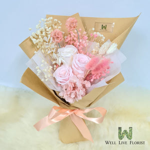 Hand Bouquet of Preserved Roses, Hydrangea,and Dried Foliage