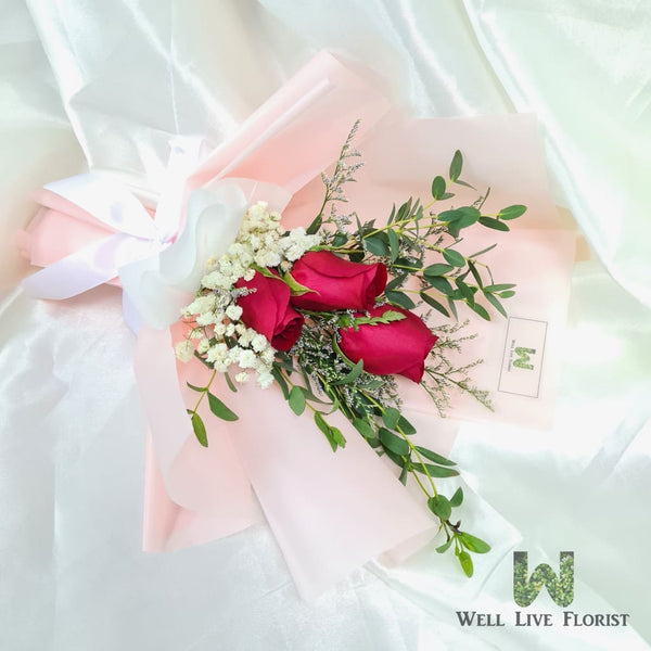 03 Fresh Cut Roses , Baby's Breath with Foliage Hand Bouquet