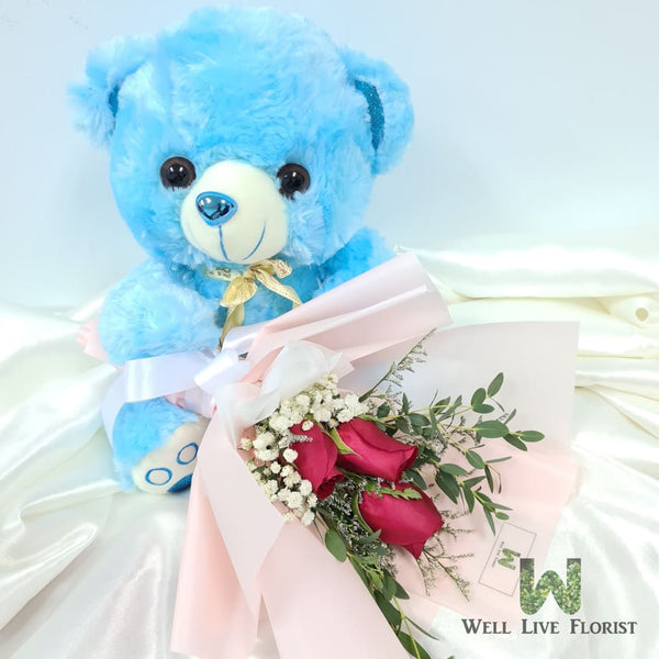 Hand Bouquet Of 03 Roses and Plush Toy Bear
