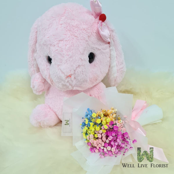 Rainbow Color Baby's Breath or Pink Rose Hand Bouquet and 36 cm Rabbit Plush Toy