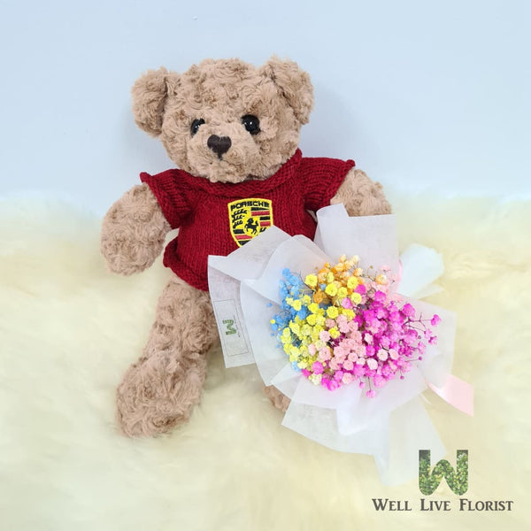 Hand Bouquet Of 03 Roses or Rainbow Color Baby's Breath and Plush Toy Bear