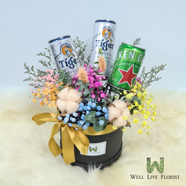 Box Arrangements of Baby's Breath , Dried Cotton , Filler Flower and Dried Foliage including  03 Can of Beer - 320 ml