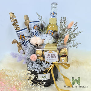 Box Arrangements of Preserved Hydrangea , Dried Cotton , Filler Flower and Dried Foliage including  02 Can of Beer - 320 ml , 01 Bot Beer -325 ml and 01 box of Ferrero Rocher - 16 T
