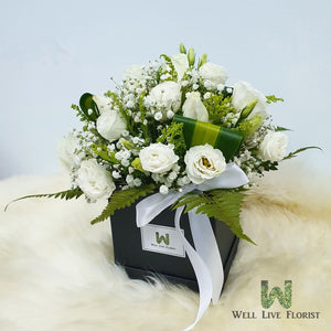 Flower Box of Fresh Cut Roses , Eustoma , Baby's Breath and Foliage