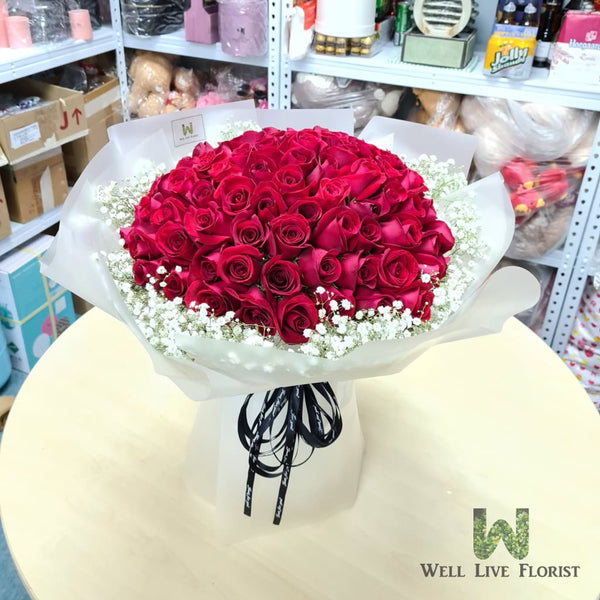 Hand Bouquet of 99 Roses