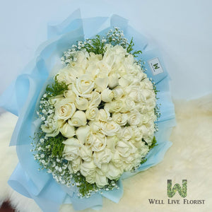 99 White Color Roses Hand Bouquet