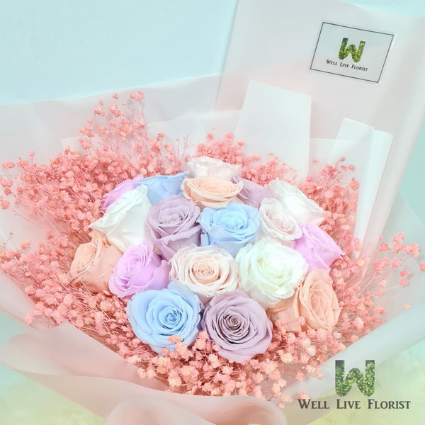 Hand Bouquet of Preserved Roses, Baby Breath