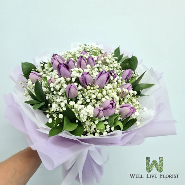 Purple Tulips & Baby Breath Hand Bouquet