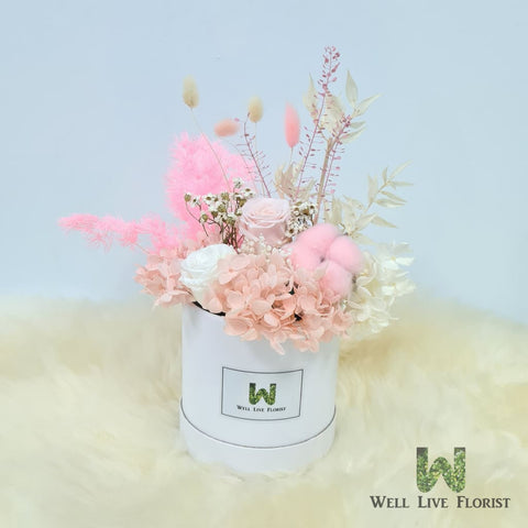 Flower Box of Preserved Roses , Cotton , Hydrangea and Dried Foliage