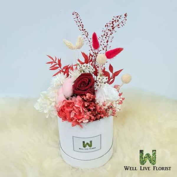 Flower Box of Preserved Roses, Cotton, Hydrangea and Dried Foliage