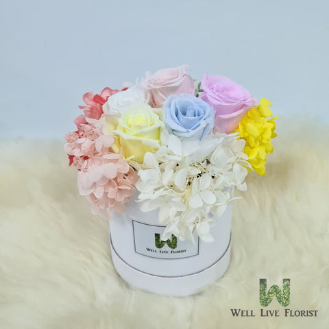 Flower Box of Preserved Roses and Hydrangea