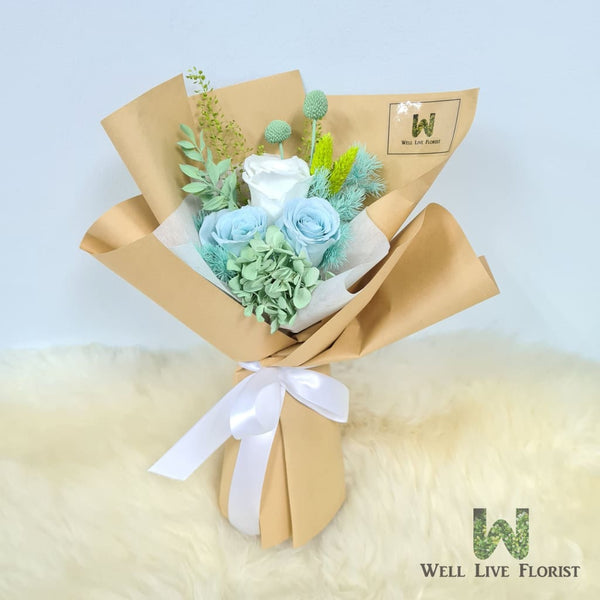 Hand Bouquet of Preserved Roses, Hydrangea, Baby Breath and Dried Foliage
