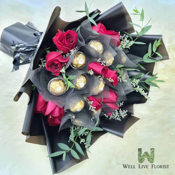Hand Bouquet Of 12 Red Roses and 12 Ferrero Rocher Chocolate