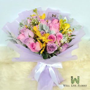 Hand Bouquet of Orchid, Roses , Wax Flower and Foliage