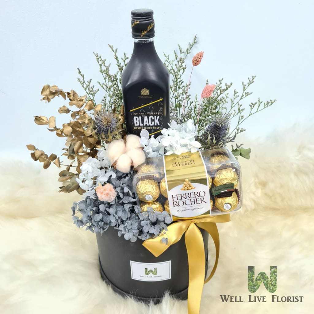 Box Arrangements of Preserved Hydrangea , Dried Cotton , Filler Flower and Dried Foliage including 01 Bot Johnnie Walker Black Label Whisky (700ml) and 01 box of Ferrero Rocher - 16 T