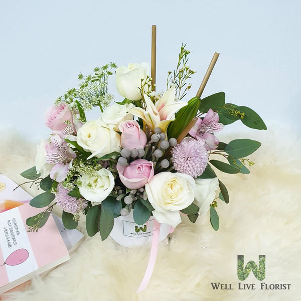 Fresh Cut Roses, Brunia, Pom Pom, Alstroemeria , Liliy, Filler Flower and Foliage