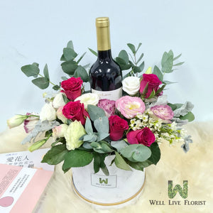 Flower Box of Roses, Eustoma and 01 Bot Of Gawler G9 Wine 750 ml