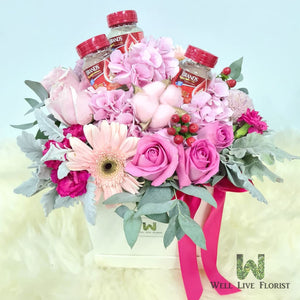 Flower Box of Fresh Cut Roses, Hydrangea, Cotton, Gerbera , Carnation, Filler Flower and Foliage With 03 Bots Brands Bird's Nest - 60ml